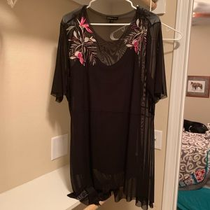 Black sheer top with cami